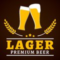 Lager beer poster premium glasses with foam and wheat ear vector illustration Stock Photos