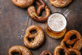 Lager beer with pretzels Royalty Free Stock Photo