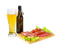 Lager light beer and mix of different meat snackes Royalty Free Stock Photo