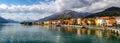 Lago di Como (Lake Como) Gravedona panoramic view Royalty Free Stock Photo