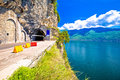 Lago di Garda west coast cliff road and tunnel view Royalty Free Stock Photo