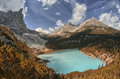 Lago di sorapiss beautiful color of the mountain lake dolomi dolomite alps Royalty Free Stock Image