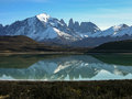 Lago grey in torres del paine the national park patagonia chile a rare view on a calm morning Stock Photo