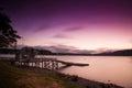 Lago lungo della fotografia di esposizione a Te Anau nel tempo di tramonto, isola del sud, Nuova Zelanda Fotografie Stock Libere da Diritti