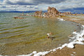 Lagoon in mono lake ca showing tufa structures Royalty Free Stock Images