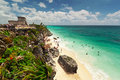 Lagoon of the Tulum beach Royalty Free Stock Photo