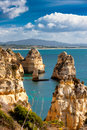 Lagos cliffs in portugal under heavy clouds Royalty Free Stock Photography
