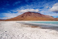 Laguna verde volcano licancabur and with salt flats altiplano bolivia Stock Photos