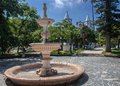 Laguna vidal ramos plaza brazil a fountain and the facade of the twin tower matriz church of santa catarina rio grande do sul in Stock Photography