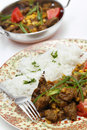 Lahore style lamb curry vertical pakistan and chana dhal split pea garnished with sliced chillies and chopped tomato and served Royalty Free Stock Images