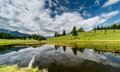 Beautiful mountain lake and reflection of surroundings in the Swiss Alps Royalty Free Stock Photo