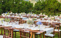 Laid tables for the gala dinner of wedding Royalty Free Stock Photo