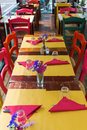 Laid tables of a restaurant Royalty Free Stock Photo