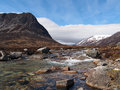 Lairig ghru seen from river dee scotland in may devil point to the left and carn a mhaim to the right Stock Images