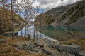 Lake Agnes in autumn colors Royalty Free Stock Photos
