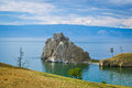 Lake baikal shaman rock national park cape burhan one of the nine holy places of asia Royalty Free Stock Photography
