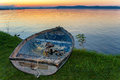 Lake Balaton after sunset with a boat in the front Royalty Free Stock Photo