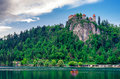 Lake Bled with castle in Slovenia Royalty Free Stock Photo