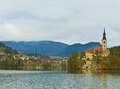 Lake bled scenic view of Stock Photo