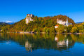 Lake bled slovenia in on a sunny day in autumn Royalty Free Stock Image