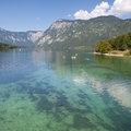 Lake bohinj from ribcev laz the clear waters of slovenia Stock Photography
