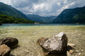 Lake bohinj in slovenia scenic view of famous julian part of alps thousands of turists visite this part of triglav national Stock Photos