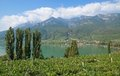 Lake caldaro south tyrolean wine route italy view of at near bolzano and merano tyrol trentino alto adige italyitaly Royalty Free Stock Photo