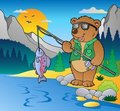 Lake with cartoon fisherman 2 Royalty Free Stock Photos