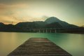 Lake of cavazzo friuli a view the on the boardwalk Royalty Free Stock Photos