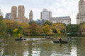 Lake of Central park with boats Royalty Free Stock Photo