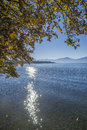 Lake chiemsee in autumn panoramic view Royalty Free Stock Photo