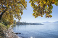 Lake chiemsee in autumn panoramic view Royalty Free Stock Photos