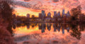 Lake Clara Meer and Midtown Atlanta in twilight, USA Royalty Free Stock Photo