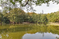 Lake close to Schonborn Castle. Chynadiyovo, Ukraine. Royalty Free Stock Photo