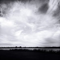 Lake clouds dramatic formations above Stock Photography
