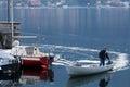 LAKE COMO, ITALY/EUROPE - OCTOBER 29 : Boat coming in at  Mandel Royalty Free Stock Photo
