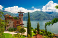 Lake Como, Italy, Europe. Villa was used for film scene in movie Royalty Free Stock Photo