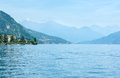 Lake como italy view from ship coast summer board Royalty Free Stock Photography