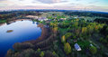 Lake and countryside lithuania at spring aerial view Royalty Free Stock Photo
