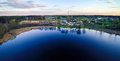 Lake and countryside lithuania at spring aerial view Stock Photography