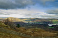 Lake district cumbria view over windermere to the fells ambleside and beyond from black crag Royalty Free Stock Photography