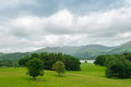 Lake district the fairfield horseshoe from wray castle cumbria view across windermere to above ambleside Royalty Free Stock Image