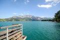 Lake district Salzburger Land Austria: View over lake Attersee - Austrian Alps