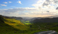 Lake district scenic landscape of national park with cloudscape and sunset background cumbria england Stock Image