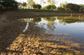 Lake drying because of lack of rain in sao paulo brazil Stock Photography