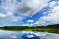 Lake engozero and dramatic clouds north karelia russia cumulus Stock Photography