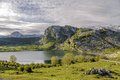 Lake enol fantastic one of the famous lakes of covadonga asturias spain Royalty Free Stock Photography