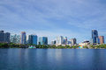 Lake Eola, High-rise buildings, skyline, and fountain Downtown Orlando, Florida, United States, April 27, 2017. Royalty Free Stock Photo