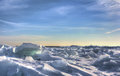 Lake erie ice huge chunks of fresh water on eire in northwest ohio beautiful winter scene Royalty Free Stock Photo