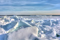 Lake erie ice huge chunks of fresh water on eire in northwest ohio beautiful winter scene Royalty Free Stock Photography
